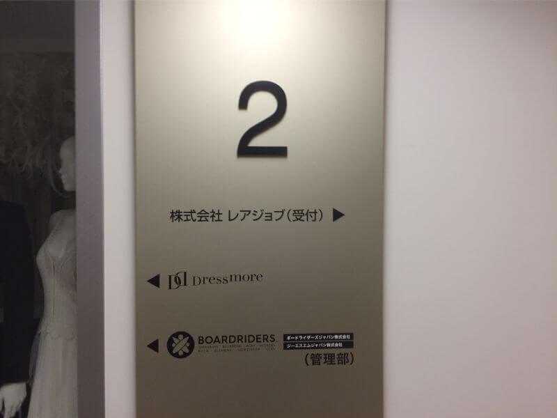 京セラ原宿ビル2階の表示